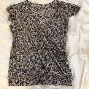 Animal Print Wrap Shirt
